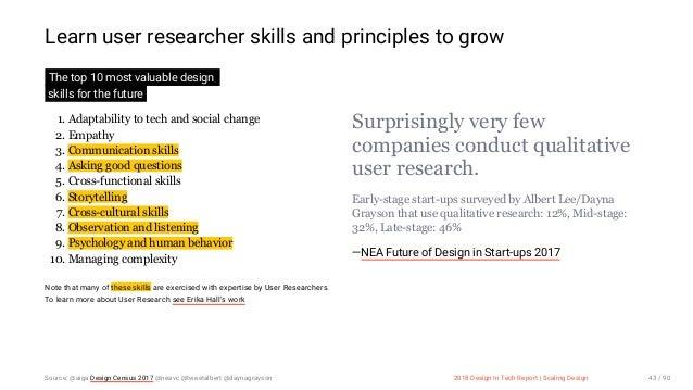 3/10/2018 2018 Design In Tech Report http://jmmbp001.local:5757/?ckcachecontrol=1520689902#16 43/90 Learn user researcher ...