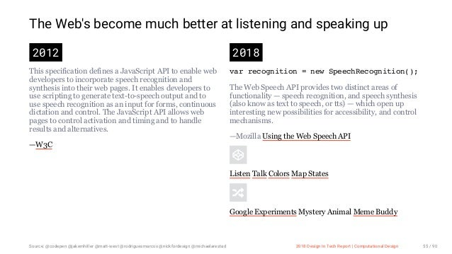 3/10/2018 2018 Design In Tech Report http://jmmbp001.local:5757/?ckcachecontrol=1520689902#16 55/90 The Web's become much ...