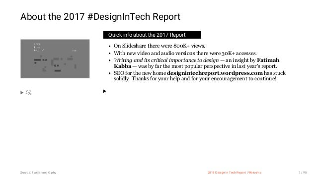 3/10/2018 2018 Design In Tech Report http://jmmbp001.local:5757/?ckcachecontrol=1520689902#16 7/90 Quick info about the 20...