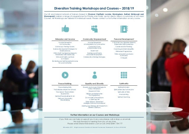 Diversiton Training Workshops and Courses –2018/19 Our UK and Ireland network of trainers (based inClonmel, Sheffield, L...