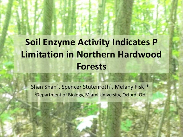 Soil Enzyme Activity Indicates P Limitation in Northern Hardwood Forests Shan Shan1, Spencer Stutenroth1, Melany Fisk1* 1D...