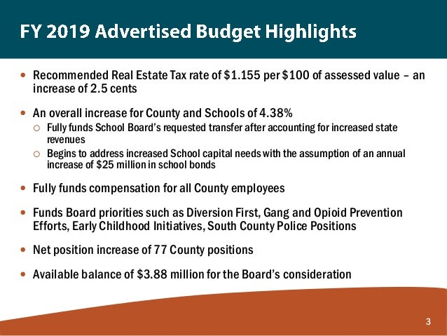 County Executive Budget Presentation on the FY 2019 Advertised Budget Plan Slide 3