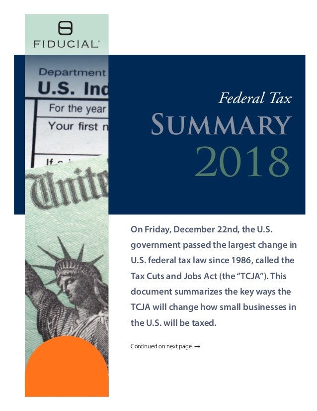 On Friday, December 22nd, the U.S. government passed the largest change in U.S. federal tax law since 1986, called the Tax...