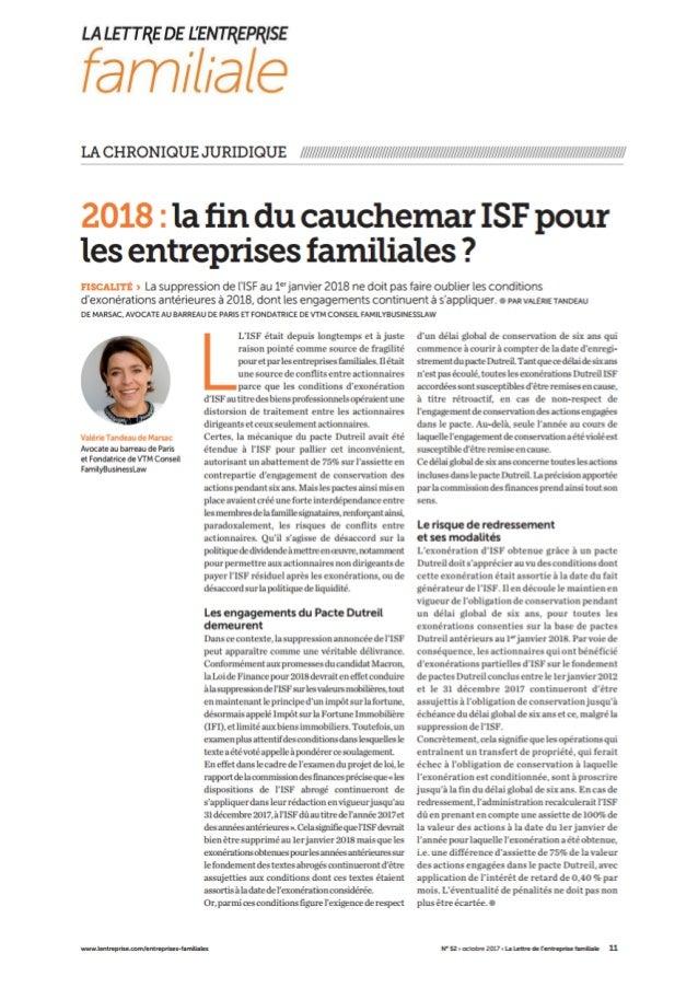 2018 : la fin du cauchemar ISF pour les entreprises familiales ?