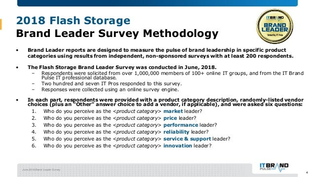 June 2018 Brand Leader Survey 2018 Flash Storage Brand Leader Survey Methodology • Brand Leader reports are designed to me...