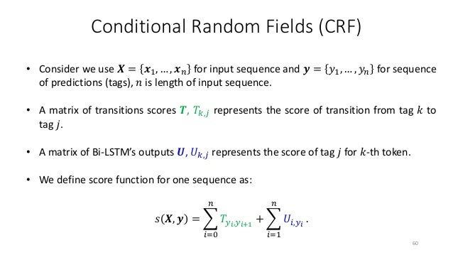 Conditional Random Fields (CRF) The probabilistic model for sequence CRF defines a family of conditional probability, 𝒀𝒀 𝑿...
