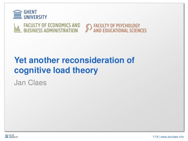 1/18 | www.janclaes.info Jan Claes Yet another reconsideration of cognitive load theory