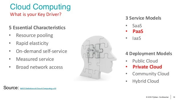 © 2016 Pythian. Confidential 10 Cloud Computing WhatisyourKeyDriver? Source: NIST Definition of Cloud Computing v15 3...