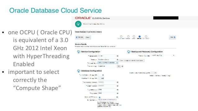© 2016 Pythian. Confidential 23 Oracle Database Cloud Service • oneOCPU(OracleCPU) isequivalentofa3.0 GHz2012I...