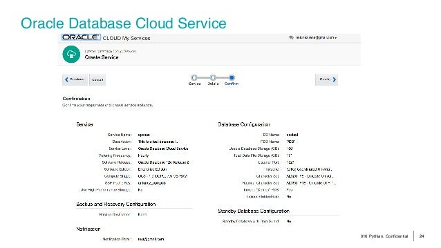 © 2016 Pythian. Confidential 24 Oracle Database Cloud Service
