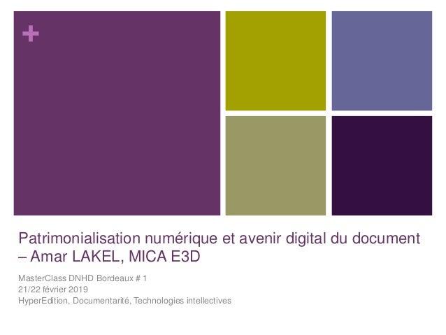 + Patrimonialisation numérique et avenir digital du document – Amar LAKEL, MICA E3D MasterClass DNHD Bordeaux # 1 21/22 fé...