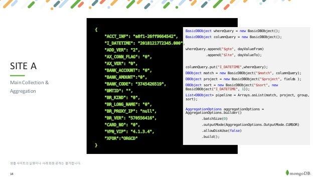 "14 SITE A 샘플 사이트의 실명이나 사례 회원 공개는 불가합니다. Main Collection & Aggregation { ""ACCT_INF"": ""a8f1-26ff9664542"", ""I_DATETIME"": ""201..."
