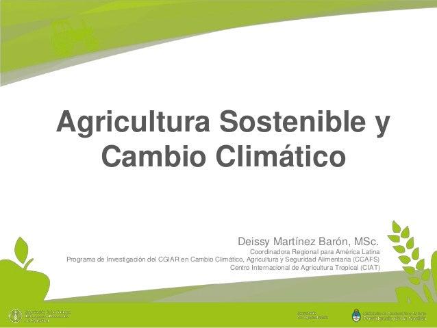 Agricultura Sostenible y Cambio Climático Deissy Martínez Barón, MSc. Coordinadora Regional para América Latina Programa d...