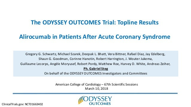 The ODYSSEY OUTCOMES Trial: Topline Results Alirocumab in Patients After Acute Coronary Syndrome Gregory G. Schwartz, Mich...