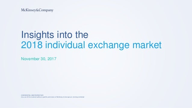 Insights into the 2018 individual exchange market November 30, 2017 CONFIDENTIAL AND PROPRIETARY Any use of this material ...