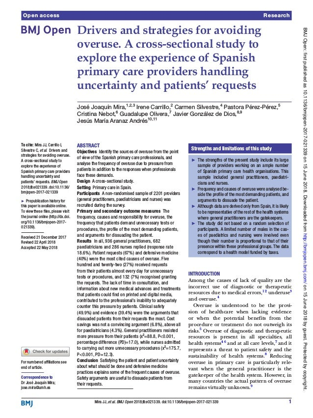 1Mira JJ, et al. BMJ Open 2018;8:e021339. doi:10.1136/bmjopen-2017-021339 Open access Drivers and strategies for avoiding ...