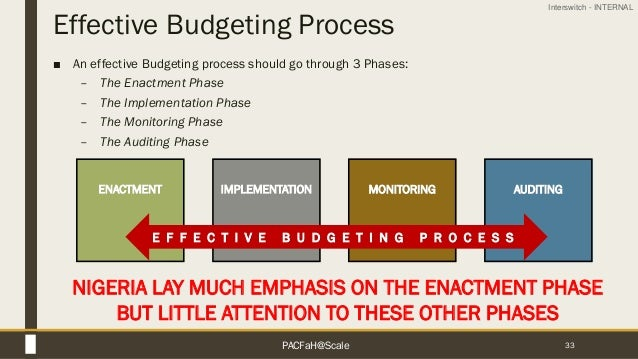 Interswitch - INTERNAL Effective Budgeting Process ■ An effective Budgeting process should go through 3 Phases: – The Enac...