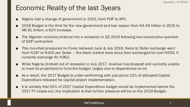 Interswitch - INTERNAL Economic Reality of the last 3years ■ Nigeria had a change of government in 2015, from PDP to APC. ...
