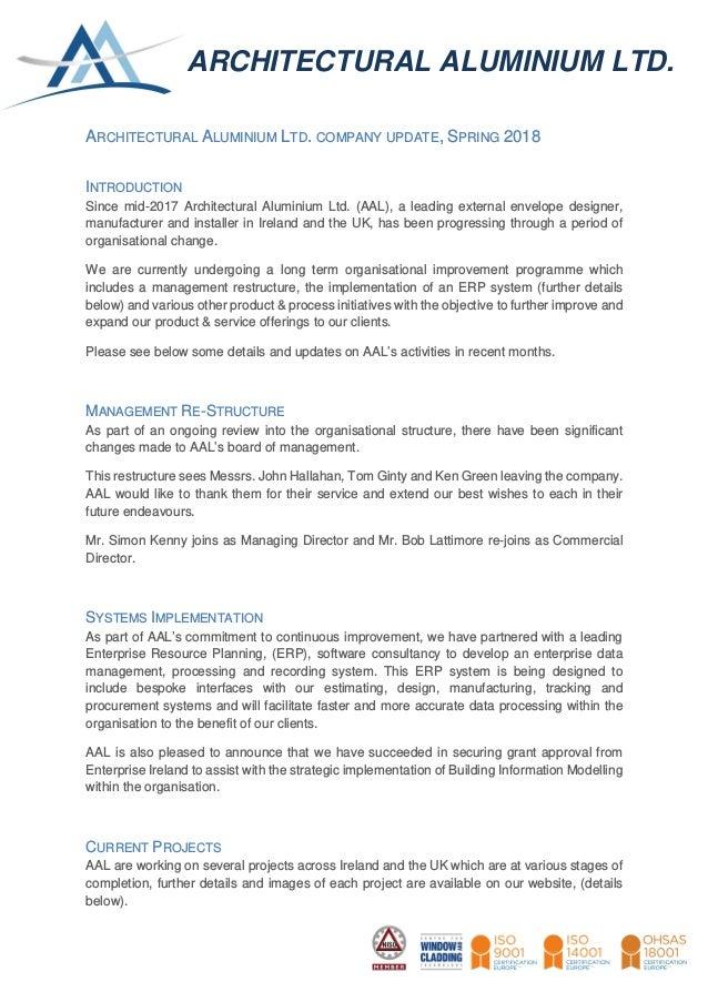Architectural Aluminium Ltd  Company Update Spring 2018