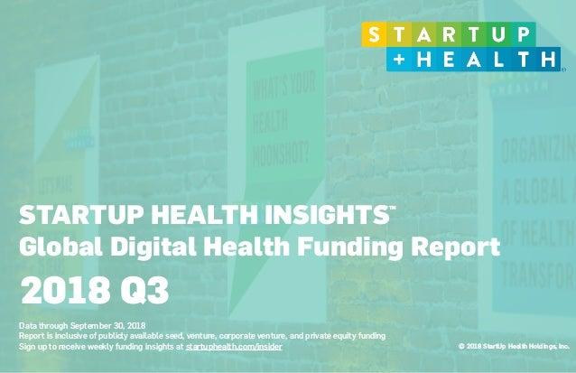 © 2018 StartUp Health Holdings, Inc. STARTUP HEALTH INSIGHTS Global Digital Health Funding Report  Data through September...
