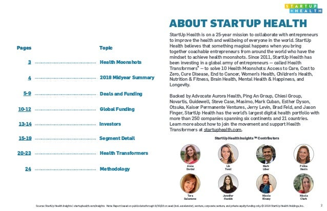 ABOUT STARTUP HEALTH Pages Topic 3 ………………………………………….…… Health Moonshots 4 ………………………………………….…… 2018 Midyear Summary 5-9 ………...