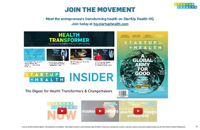 23 JOIN THE MOVEMENT Meet the entrepreneurs transforming health on StartUp Health HQ. Join today at hq.startuphealth.com S...