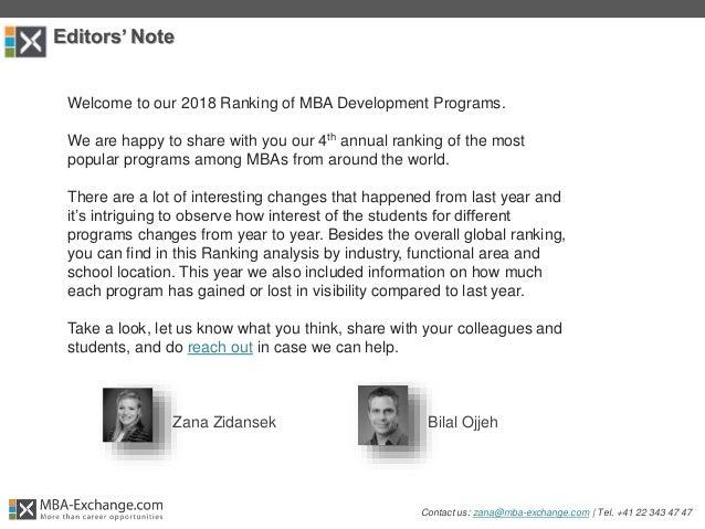 2018 Ranking of MBA Development Programs  Slide 3