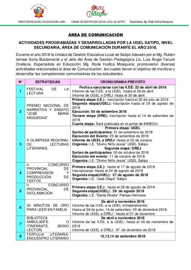 DIRECCIÓN REGIONAL DE EDUCACIÓN JUNÍN UNIDAD DE GESTIÓN EDUCATIVA LOCAL DE SATIPO Especialista: Mg. Rode Huillca Mosquera ...