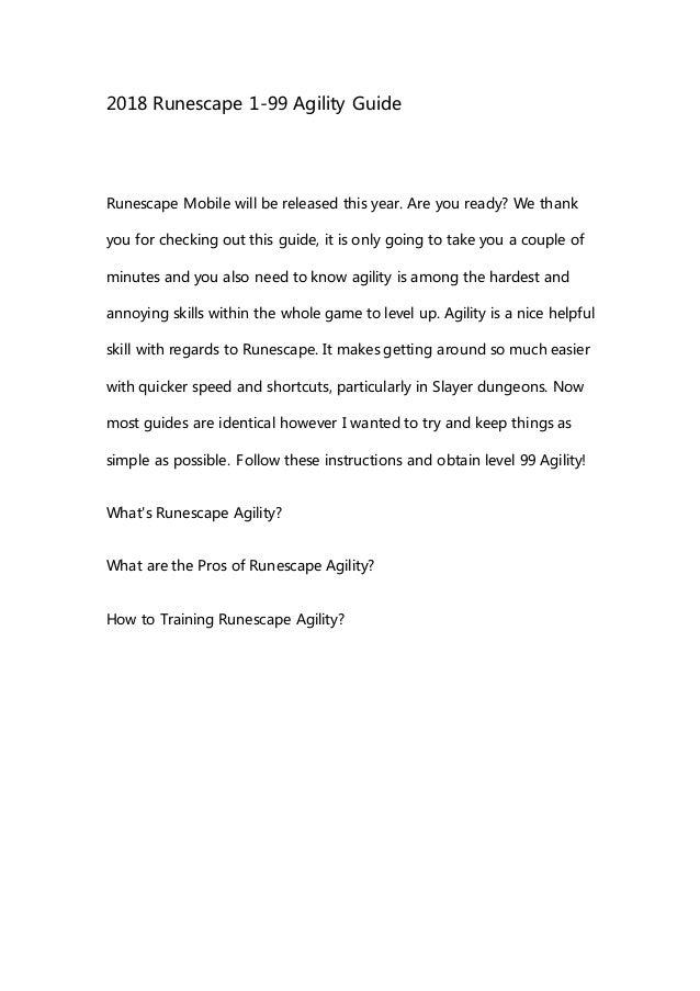 2018 Runescape 1 99 Agility Guide