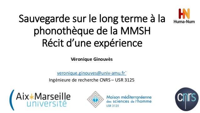 Sauvegarde sur le long terme à la phonothèque de la MMSH Récit d'une expérience Véronique Ginouvès veronique.ginouves@univ...