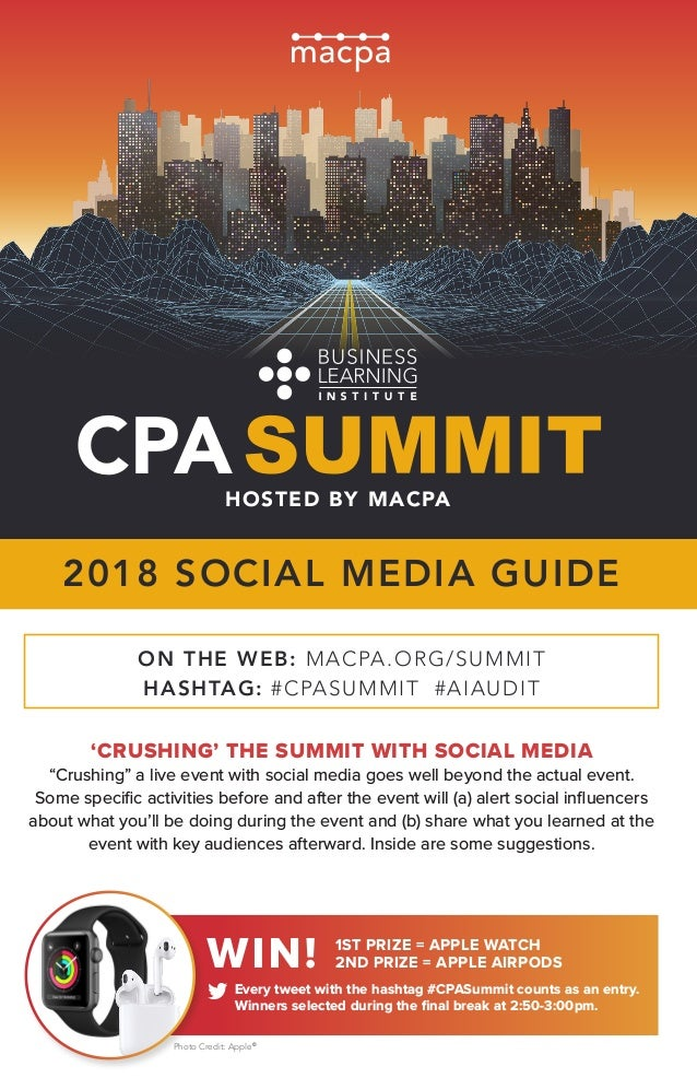 """CPAHOSTED BY MACPA 'CRUSHING' THE SUMMIT WITH SOCIAL MEDIA """"Crushing"""" a live event with social media goes well beyond the ..."""