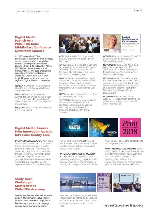 WAN-IFRA Activity Report 2018