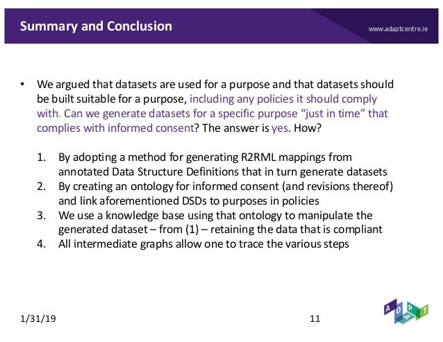 www.adaptcentre.ieSummary and Conclusion • We argued that datasets are used for a purpose and that datasets should be buil...