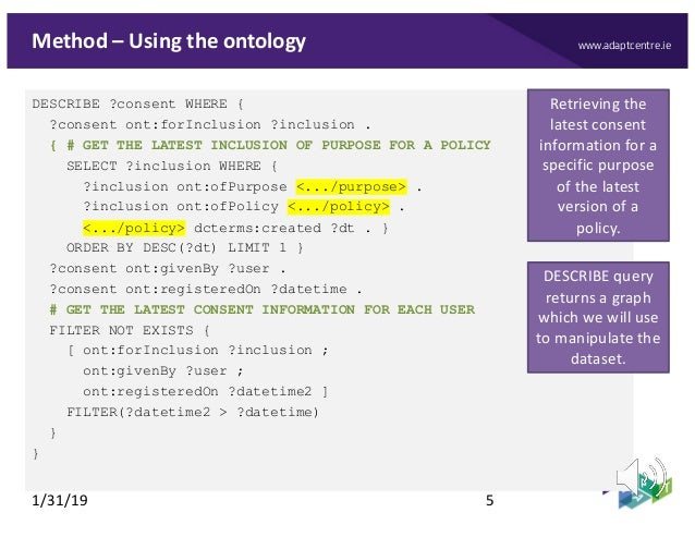 www.adaptcentre.ieMethod – Using the ontology DESCRIBE ?consent WHERE { ?consent ont:forInclusion ?inclusion . { # GET THE...