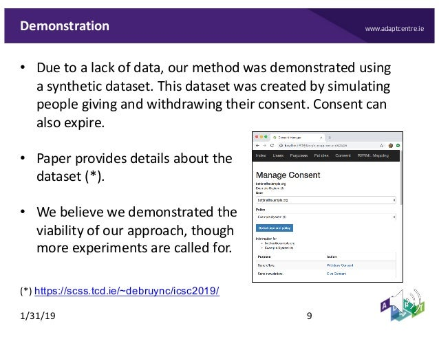www.adaptcentre.ieDemonstration • Due to a lack of data, our method was demonstrated using a synthetic dataset. This datas...