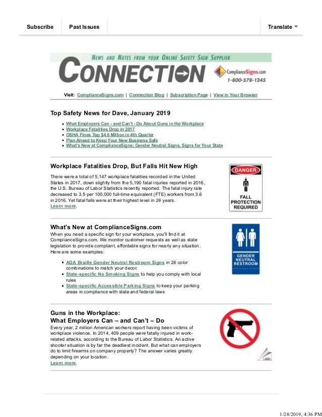 Visit: ComplianceSigns.com | Connection Blog | Subscription Page | View in Your Browser Top Safety News for Dave, January ...