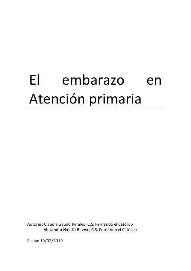 875d86f58 El embarazo en Atención primaria Autores  Claudia Gaudó Perales  C.S.  Fernando el Católico Alexandra ...