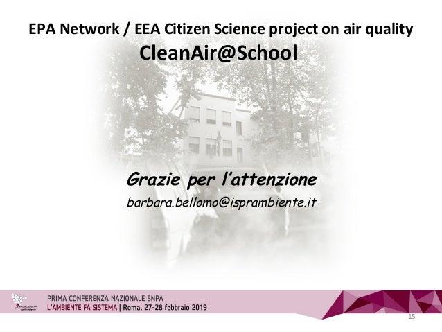 Grazie per l'attenzione barbara.bellomo@isprambiente.it EPA Network / EEA Citizen Science project on air quality CleanAir@...