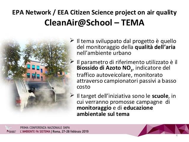 EPA Network / EEA Citizen Science project on air quality CleanAir@School – TEMA 4  Il tema sviluppato dal progetto è quel...