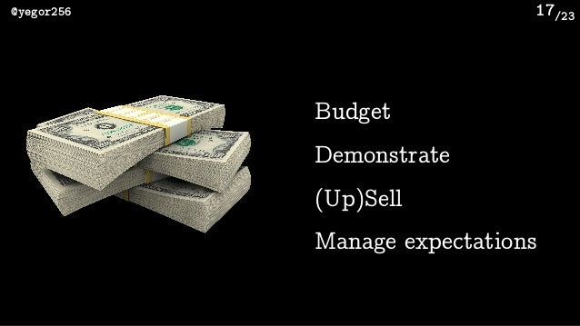 /23@yegor256 17 Budget Demonstrate (Up)Sell Manage expectations