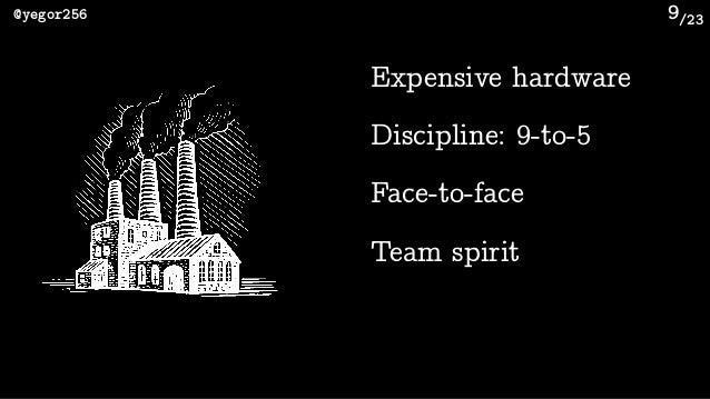 /23@yegor256 9 Expensive hardware Team spirit Discipline: 9-to-5 Face-to-face