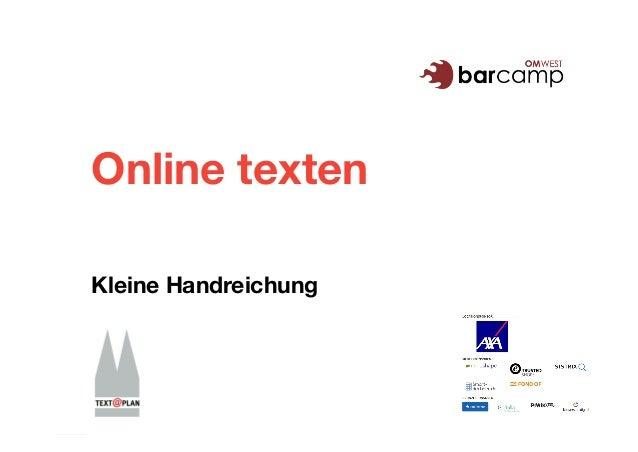 Online texten Kleine Handreichung