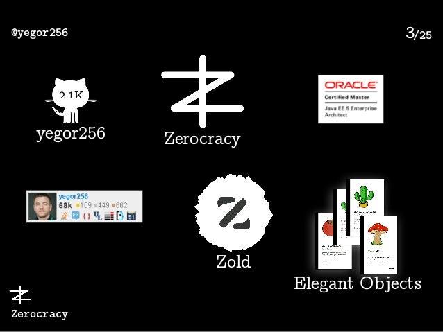 /25@yegor256 Zerocracy 3 2.1K yegor256 Zerocracy Zold Elegant Objects