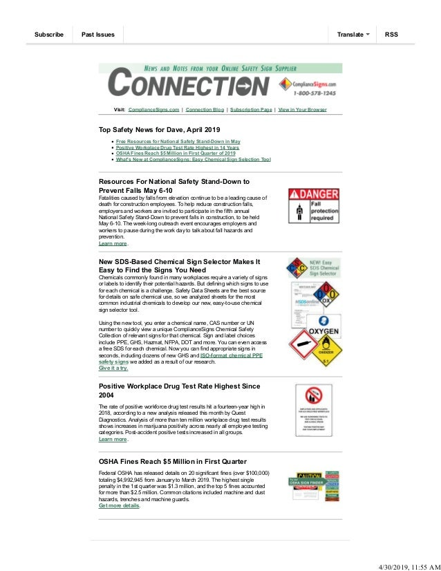 Visit: ComplianceSigns.com | Connection Blog | Subscription Page | View in Your Browser Top Safety News for Dave, April 20...
