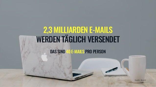 2,3 MILLIARDEN E-MAILS WERDEN T�GLICH VERSENDET DAS SIND 40 E-MAILS PRO PERSON Quelle: Absolit