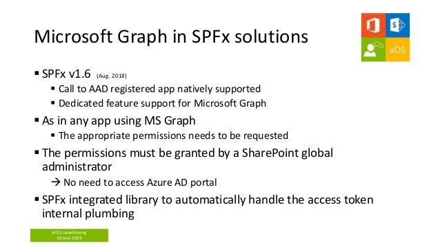 aOS Luxembourg 16 mai 2019 Microsoft Graph in SPFx solutions  SPFx v1.6 (Aug. 2018)  Call to AAD registered app natively...