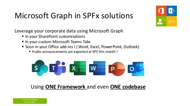aOS Luxembourg 16 mai 2019 Microsoft Graph in SPFx solutions Leverage your corporate data using Microsoft Graph  In your ...
