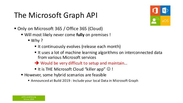 aOS Luxembourg 16 mai 2019 The Microsoft Graph API  Only on Microsoft 365 / Office 365 (Cloud)  Will most likely never c...