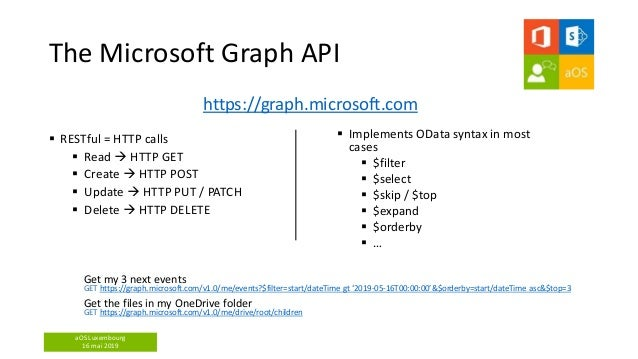 aOS Luxembourg 16 mai 2019 The Microsoft Graph API https://graph.microsoft.com  Implements OData syntax in most cases  $...