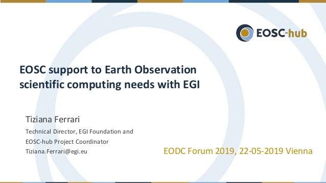 Tiziana Ferrari Technical Director, EGI Foundation and EOSC-hub Project Coordinator Tiziana.Ferrari@egi.eu EODC Forum 2019...